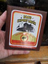 Vintage advertising 80's ancienne plaque alu sur cadre bois EMU EXPORT LAGER