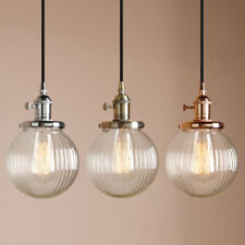 """5.9"""" Globe Industrial Indoor Pendant Light Ribbed Glass Shade Ceiling Lamp Decor"""