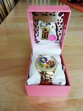Betsey Johnson Multi Colored Floral Motif Dial Gold Bracelet Watch MSRP $69