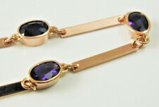 "Amethyst bar bracelet 9 carat rose gold 7"" long 3.08 carats beautiful uat"
