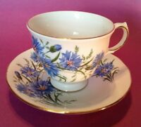 Queen Anne Pedestal Tea Cup And Saucer - White - Blue Bachelor Buttons - England