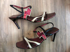 MIU MIU! Awesome Leather LIGHTNING BOLT Metallic Strappy Heels 37