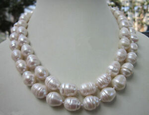 Huge 13-14MM WHITE FRESHWATER Cultured BAROQUE PEARL NECKLACE 34 INCH