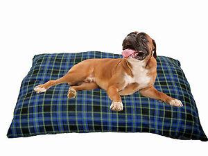 KosiPet XL Cushion Dog Bed, Blue Check Jumbo Economy dog beds for large dogs