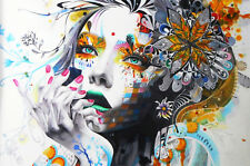 180cm x 90cm Urban princess Street art canvas face girl abstract print painting