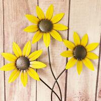 Large Bunch Yellow Sunflowers Metal Plaque Outdoor Garden Flower Wall Art 85cm