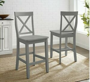 """Crosley 24"""" Solid Wood X-Back Counter Stool in Gray (Set of 2)"""