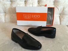 HOO Studio Boys Black Leather Dressy Shoes Loafers, Size 28