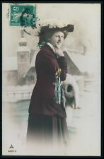 Sport Woman Lady Ice Skating blade Shoes original vintage 1910s photo postcard