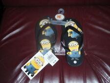 Despicable Me Minions Boy's Black Flop Flips Sandals Sz M 13/1 Youth NEW W/TAGS