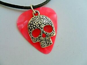 Unusual Sugar Skull Mexican Day of The Dead Guitar Pick  Necklace  14  to Choose