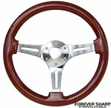 "13.75"" Slotted Chrome Mahogany Wood 350mm Steering Wheel 6 Hole 70mm Bolt"