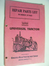 VINTAGE MINNEAOLIS MOLINE PARTS  MANUAL- UNIVERSAL  MODEL TRACTORS - 1948