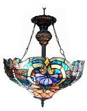 """Reverse Ceiling Pendant Fixture Tiffany Style Stained Glass 17"""" Shade Two Bulb"""