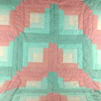 Vintage Handmade Quilted Floral Patchwork Crazy Quilt Throw 82 x 54 Coral Teal