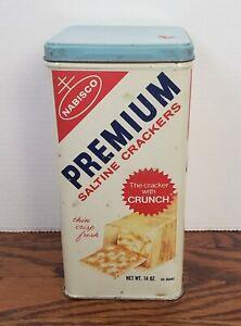Vintage 1969 Nabisco Premium Saltine Crackers Tin MADE IN USA - Midcentury Tin