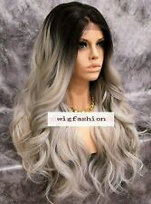 Human Hair Blend Lace Front Full Wig Long Wavy Ombre Off Black Gray Free Part
