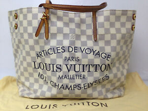 Auth LOUIS VUITTON Cabas MM N41375 Azur Damier Tote Bag Handbag