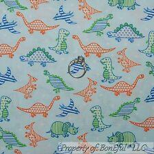 BonEful Fabric FQ Cotton Quilt VTG Blue White Baby Boy Dinosaur Orange Green Dot