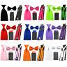 Men Solid Bowtie 8cm Necktie 4 Folds Hanky Pocket Square Braces Suspender Set