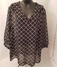 Old Navy Woman's Black/Cream Square Criss Cross Design Sheer Shirt Size XXL