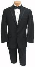 Men's Black Calvin Klein Tuxedo w/ Pants Shirt Cummerbund & Bow Tie Wedding Prom