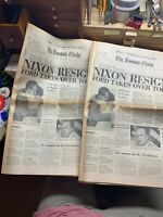 """Nixon Resigns"" The Boston Globe Newspaper August 9, 1974 — Two Copies"