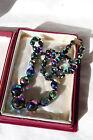 Vintage Sparkling Iridescent Purple Purple AB Glass Bead Necklace