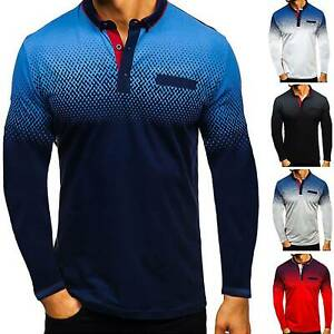 Mens Long Sleeve Polo Shirt Golf T-Shirt Jersey Casual Sports Blouse Tee Shirts