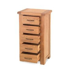 Tuscany solid oak bedroom furniture five drawer tallboy chest of drawers