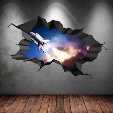 3D couleur complète Navette Spatiale Fusée Galaxy fissuré autocollant Art mur
