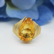 10k Yellow Gold Vintage Teardrop/Pear Citrine Gemstone Ring Size 7