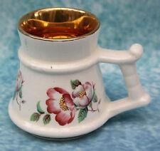 Vintage Prinknash Pottery Miniature Gilt lined Wild Rose Tankard
