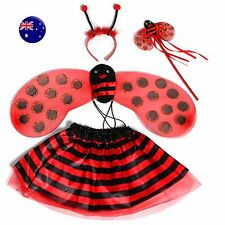 Girl Kid Child Fancy Ladybug Bug Halloween headband skirt Costume set WING