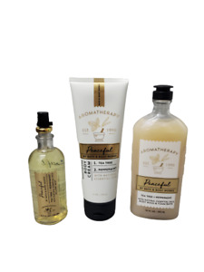 Bath & Body Works Peaceful Tea Tree Peppermint Body Wash Pillow Mist Body Cream