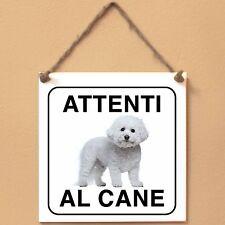 Bichon à poil frisé 4 Attenti al cane Targa piastrella cartello ceramic tile