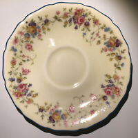 Thomas Ivory - GERMANY -  Demitasse Floral Saucer With Blue Rim - Delightful!