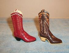 "Set of 2 Miniature Resin Cowboy Boots 2.75"" Tall Figurines Western Craft Art"