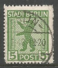 RUSSIAN ZONE-BERLIN. 1945. 5pf Green, Zig Zag Roulette. SG: R88. Fine Used.
