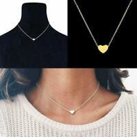Frauen Schmuck  Kette Halskette Gold Farbe Dainty Tiny Heart Shape E0L9