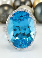 25.27 CTW Natural Blue Swiss Topaz and Diamonds in 14K Solid White Gold Ring