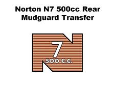 Norton N7 500cc Rear Mudguard Transfers Decals Motorcycle D50183
