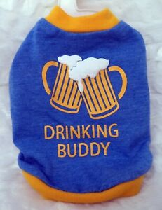 TOP PAW 'Drinking Buddy' Blue T-Shirt For Dogs (XS) (NEW)