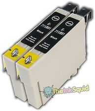 2 Black T0711 Cheetah Ink Cartridges (non-oem) fits Epson Stylus SX600FW SX610FW