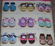 Boy Girl BABY soft SHOE BOOTIE pattern straps ties CUTE