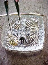 Crystal Horsdeurve's Condiment dish Tray Silver Fork Spoon Heavy glass beautiful
