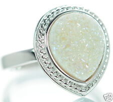 Solid 925 Sterling Silver White Pear Shape Druzy Cocktail Ring Size 5 '