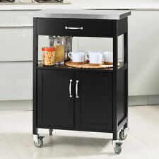 SoBuy® Black Kitchen Trolley Cabinet with Stainless Steel Top, FKW22-SCH, UK