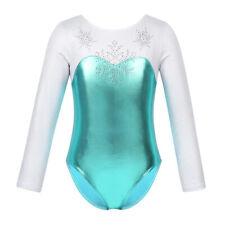Girls Long Sleeve Rhinestone Snowflake Metallic Ballet Dance Gymnastics Leotard