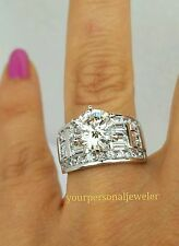 5.5 CT ladies 14k White Gold round Man Made Diamond Engagement Wedding Ring 7